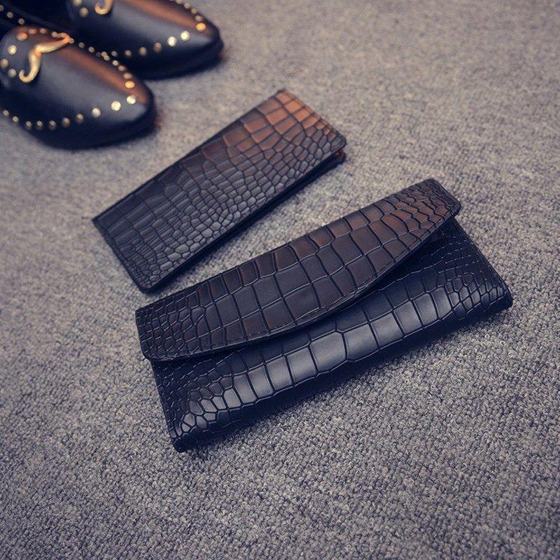 新款时尚简约女士钱包女长款石头纹日韩超薄多卡位皮夹三折钱夹卡