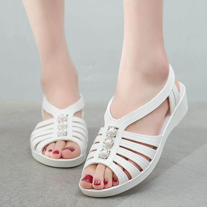 Summer plastic sandals womens work shoes flat heel open toe anti slip wear plastic mother shoes