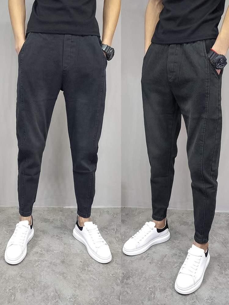 New autumn slim pants trendy mens casual Leggings solid color versatile Harlan Capris jeans mid low waist