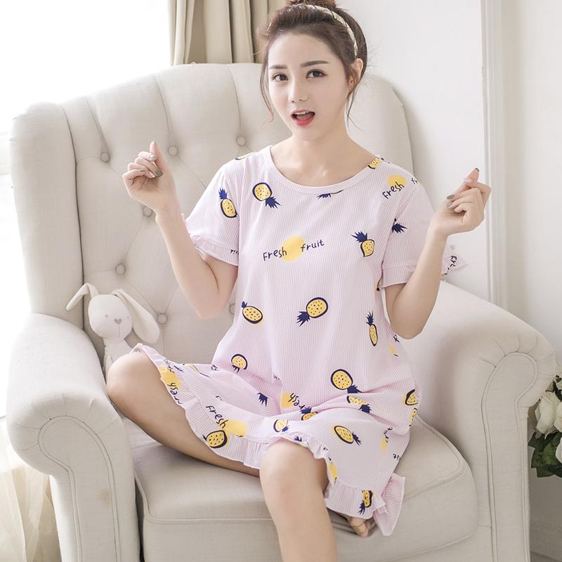 实拍2018夏季睡衣新款韩版棉质圆领家居服