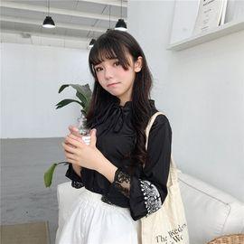 长袖女装学生甜美花边喇叭袖春季新款百搭系带立领衬衫白衬衣图片