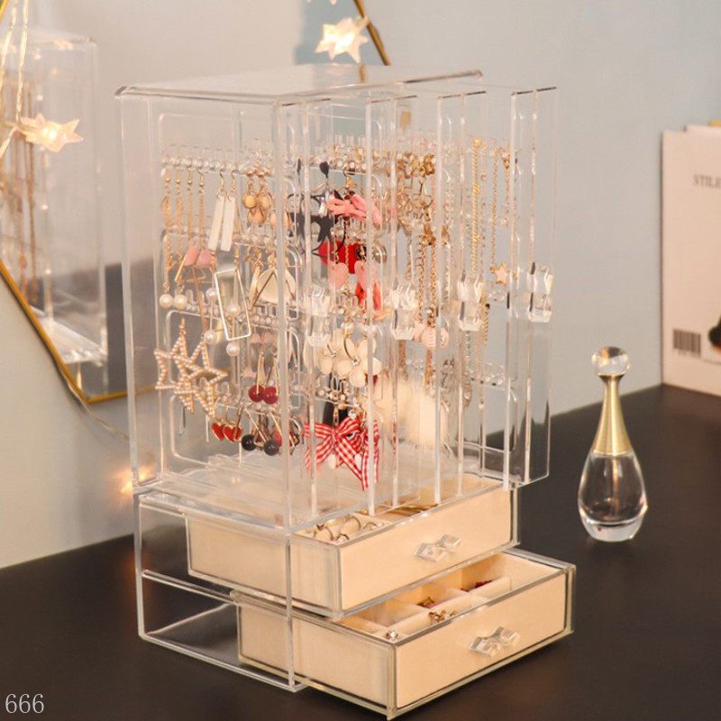 New acrylic transparent necklaces, earrings, studs, ear clips, multi-layer display rack, dustproof drawer jewelry storage box