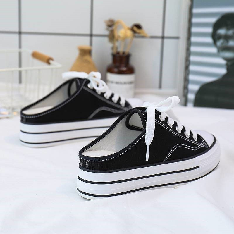 No heel lazy shoes womens thick sole single shoes color SANDALS BLACK CANVAS soft soles high heels good looking height womens shoes white