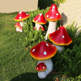花园摆件庭院户外园艺森系婚庆玻璃钢仿真蘑菇雕塑草坪植物摆件