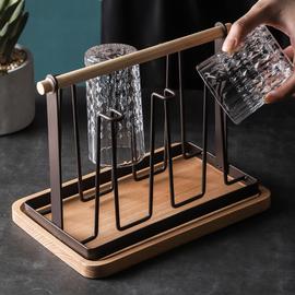 托盘玻璃杯水杯挂架沥水置物架杯架水杯架创意家用收纳杯子架倒挂