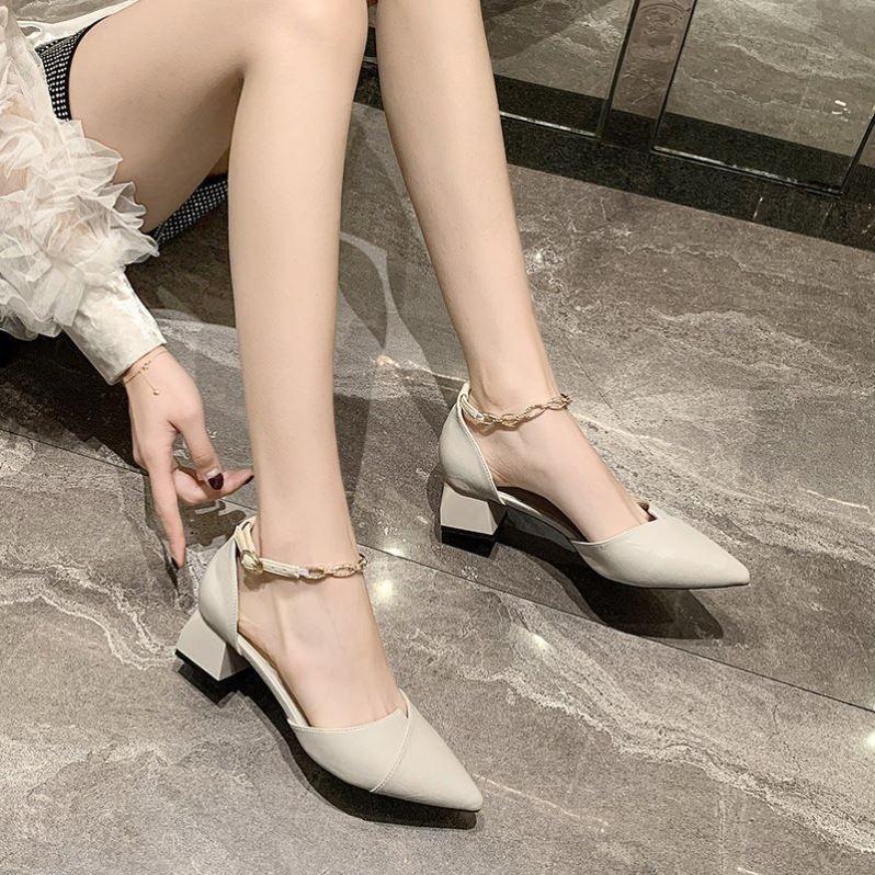 Shoe fairy super xiansen series high-grade Baotou sandals look good in summer m with skirt pointed high heels