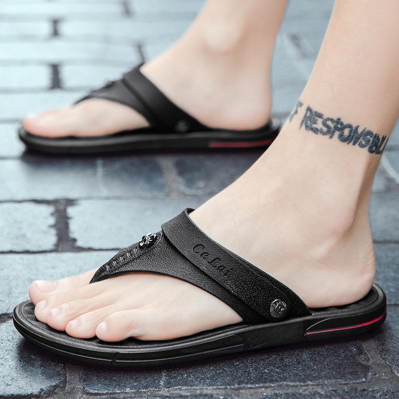 Herringbone flip flop mens 21 year fashion non slip outer wear soft sole clip foot V flip flops net red sports
