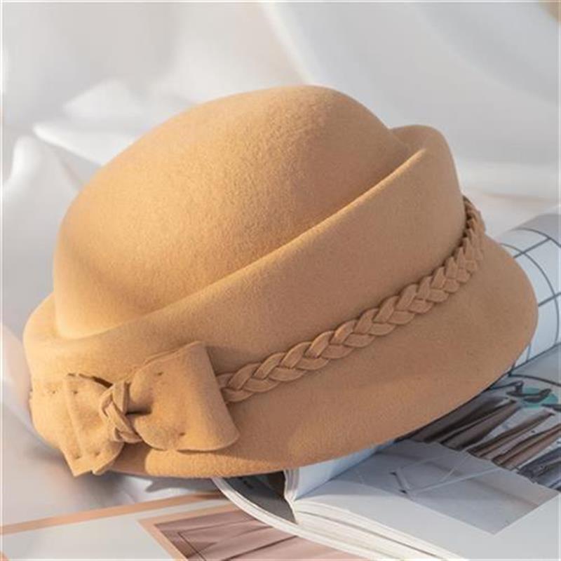 I hat children autumn and winter British K Lun K wool tweed bow top hat I female winter versatile Bailey hat stewardess hat