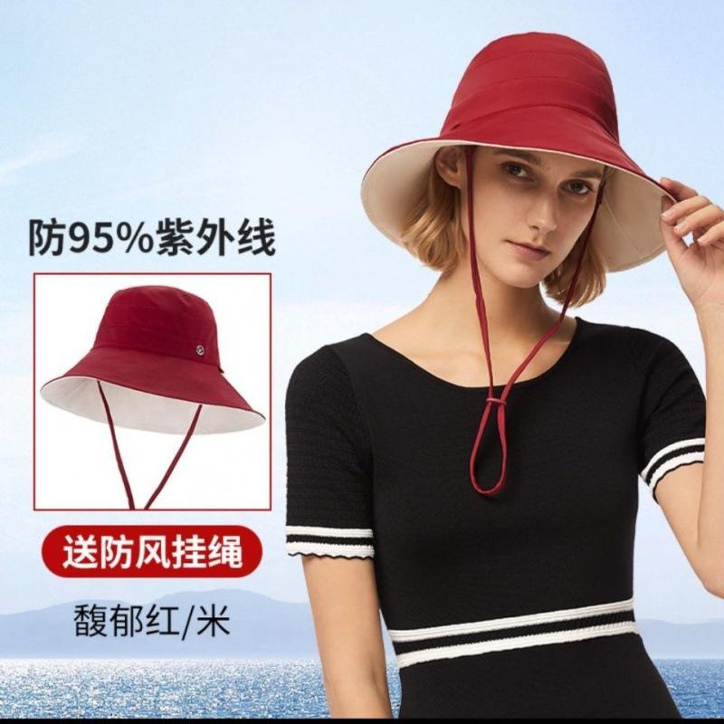 防紫外线帽子渔夫l帽防晒帽女双面百搭夏季焦下遮阳大沿边太阳