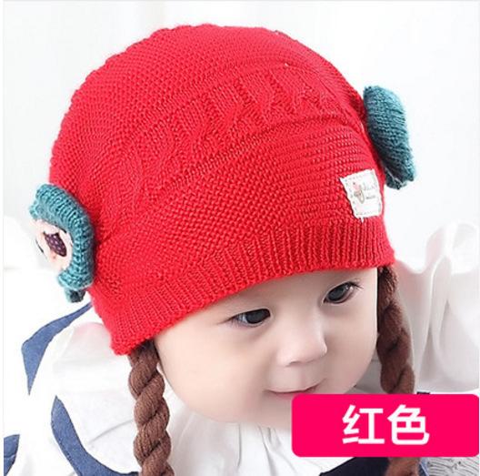 韩版女宝宝帽子秋冬6-12-18个月婴儿毛线帽公主假发女童保暖帽子