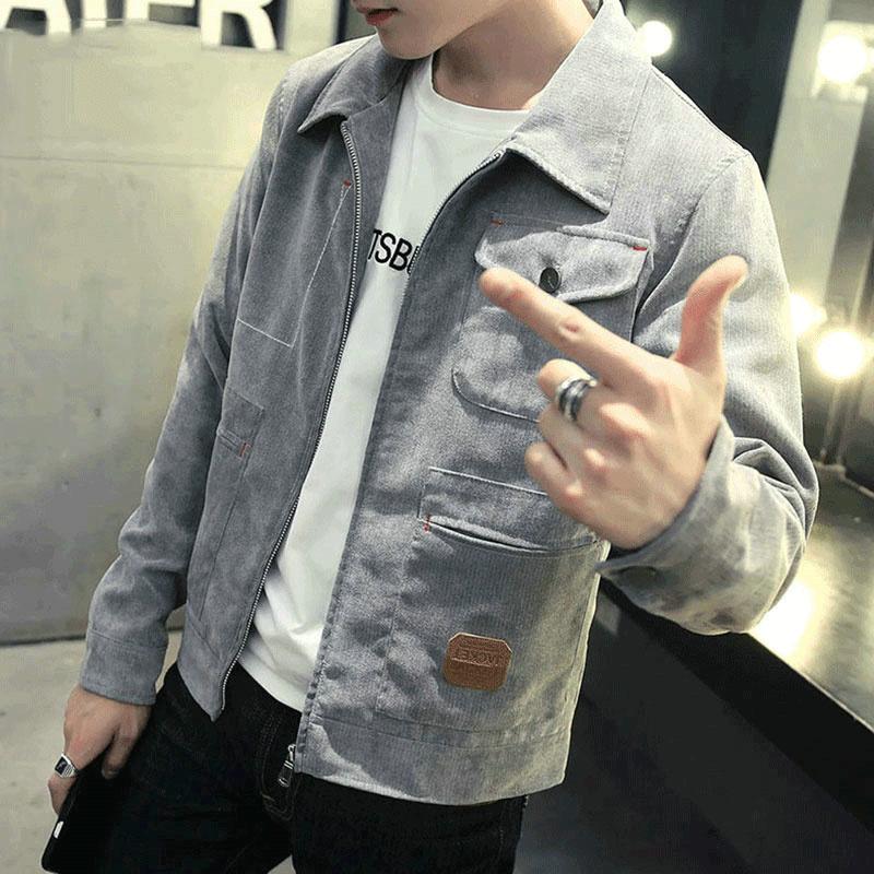 灯芯绒夹克男士2018春装新款韩版修身大码外套潮流学生外衣胖男装