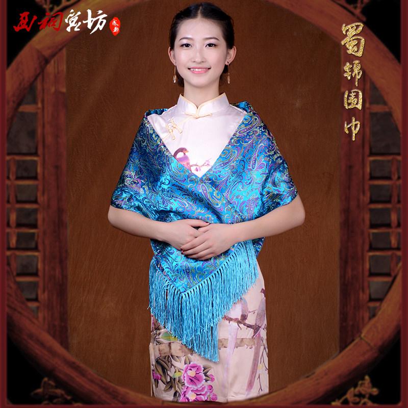 中国风成都名族特色元素纪念礼品物出国送老外国人蜀锦围巾女定制