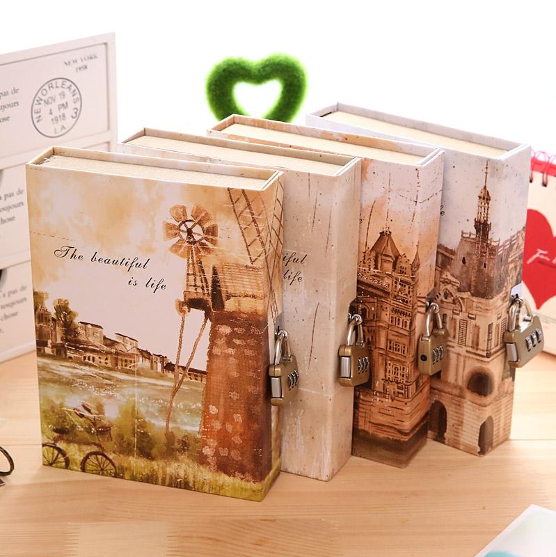 复古小清新带锁日记本 创意学生盒装密码笔记本 精装记事本子