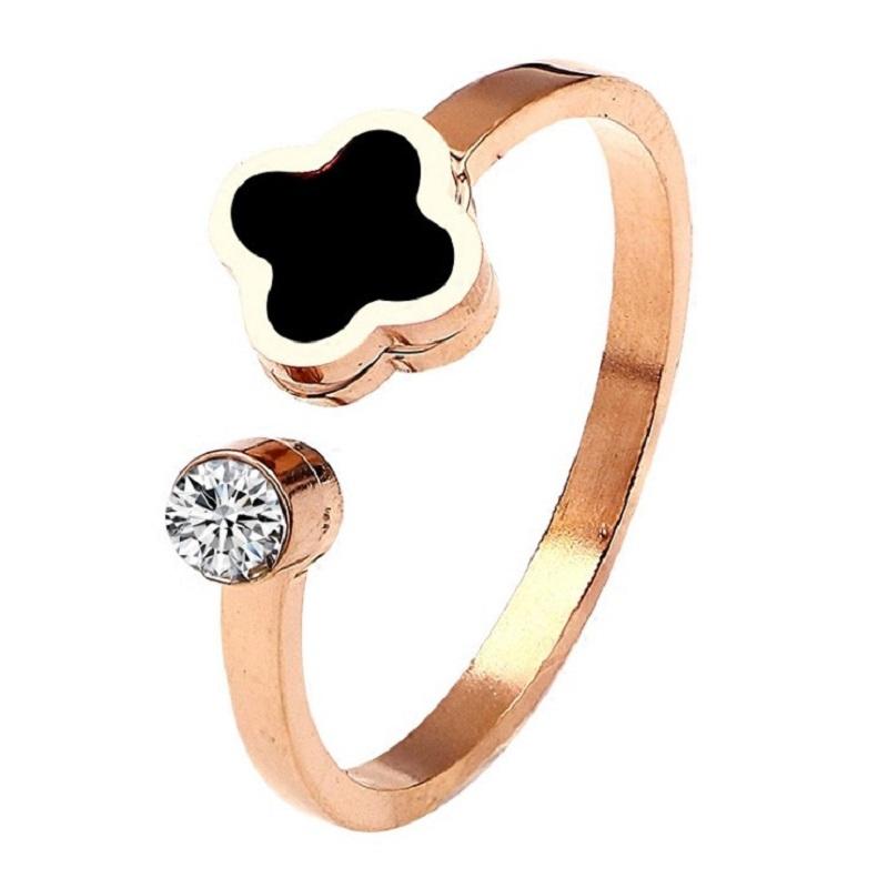 日韩简约学生清新18K玫瑰金开口四叶草戒指女食指戒指环网红礼物