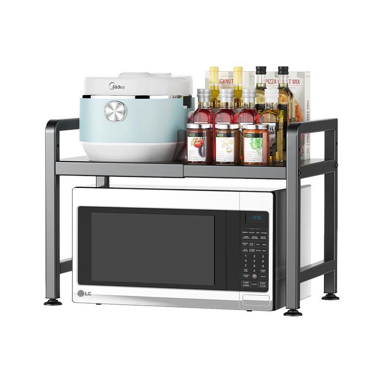可伸缩厨房置物架微波炉烤箱架子家用双层台面桌面电饭锅收纳支架