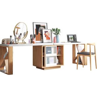 北歐簡約現代雙人書桌組合書房辦公桌卧室ins風家用小户型寫字枱