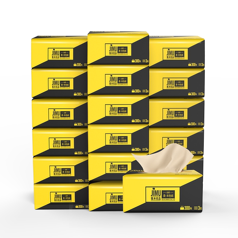 集木优品原生木浆卫生纸巾24包本色抽纸家用整箱实惠装面巾纸餐纸