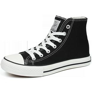回力帆布鞋男高幫帆布鞋黑色百搭休閒鞋潮流板鞋高邦男鞋子男潮鞋