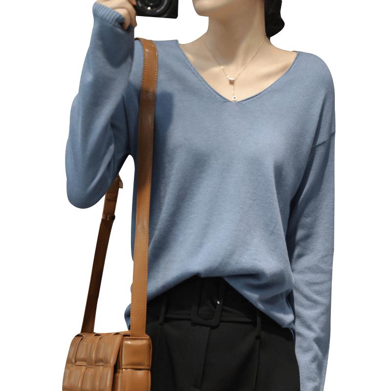 v领针织衫女长袖秋新款韩版针织衫堆堆领