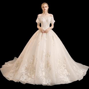 婚紗2020新款新娘森系超仙夢幻星空拖尾香檳色簡約婚紗裙遮粗手臂
