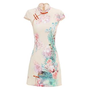 改良版旗袍年輕款少女中國風現代學生小個子性感修身短款連衣裙夏