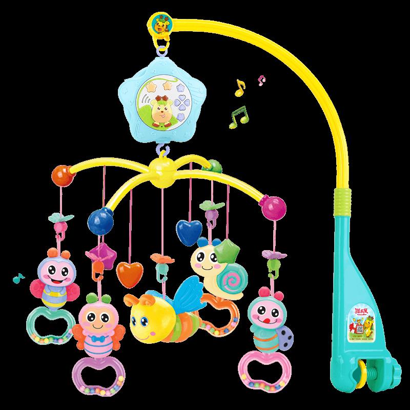 新生嬰兒牀鈴0-1歲3-6個月12男女寶寶玩具音樂旋轉益智搖鈴牀頭鈴