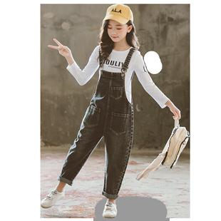 女童揹帶褲套裝秋款兒童洋氣兩件套中大童韓版時髦吊帶褲女寶長褲