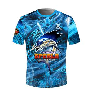 路亞釣魚服冰藍款透氣防曬冰絲半袖速幹T恤徒步跑步半袖圓領短袖
