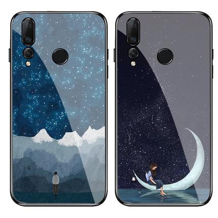 唯美月亮插画情侣钢化麦芒7手机壳