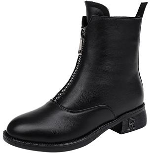 鬼帝靴女短靴秋冬2020新款平底馬丁靴女英倫風前拉鍊真皮靴女靴子