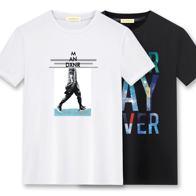 2019夏季新款男士短袖t恤打底衫純棉上衣服寬松潮流半袖體恤男裝