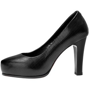 單鞋女2019新款春季淺口時尚高跟鞋四季配長裙的白色鞋子黑色鞋夏