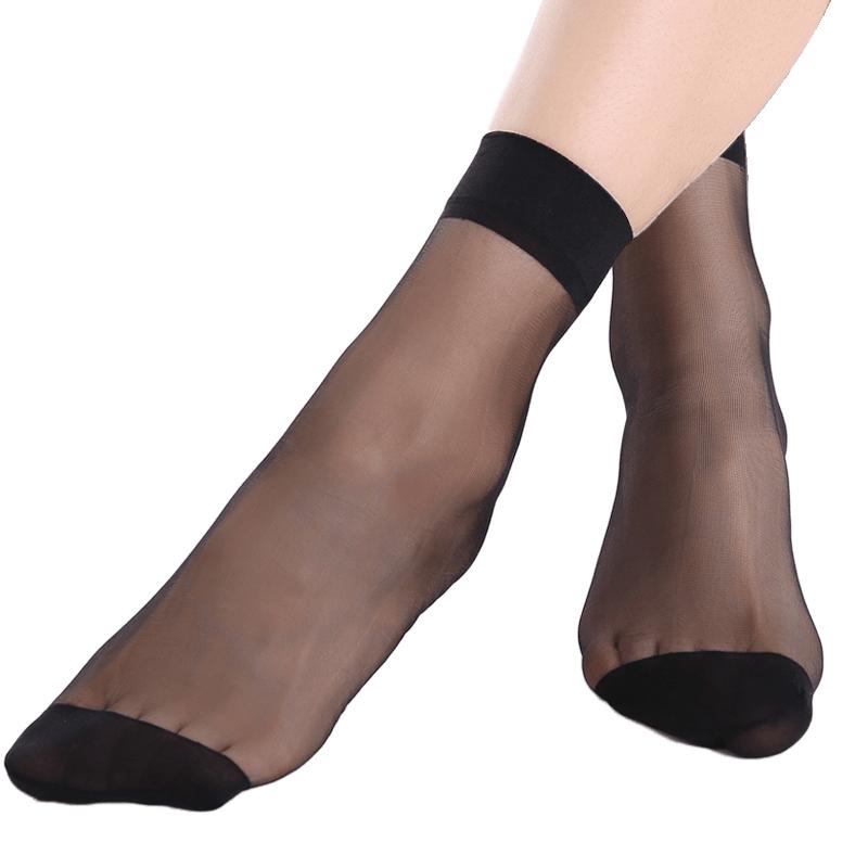 宝娜斯20双夏季水晶丝薄款防勾丝黑肉色短丝袜女隐形袜子耐磨短袜