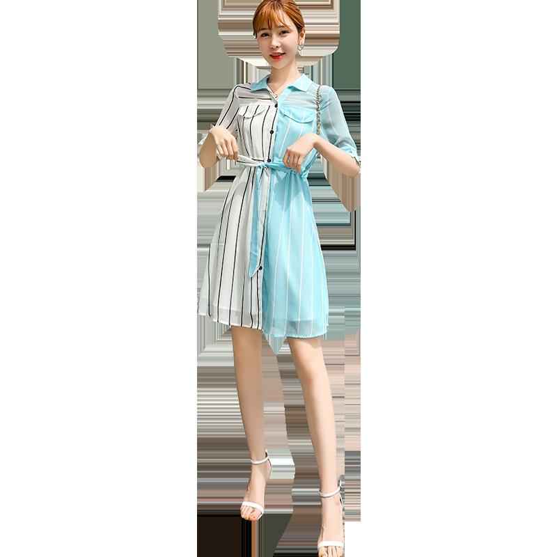 雪纺连衣裙2019新款夏收腰显瘦女装潮超仙女森系气质流行裙子女年