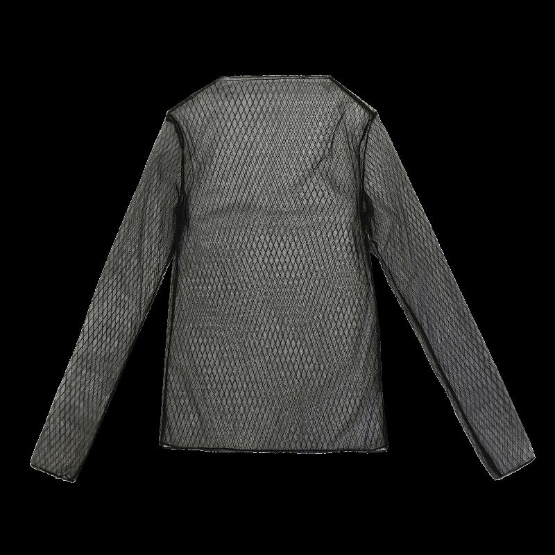网纱打底衫女蕾丝内搭长袖半高领黑色秋冬季很仙的上衣百搭软透视