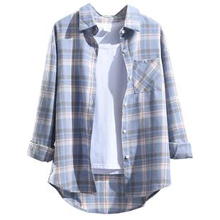 襯衣秋女外穿新款格子襯衫女長袖寬鬆韓版設計感小眾復古上衣外套
