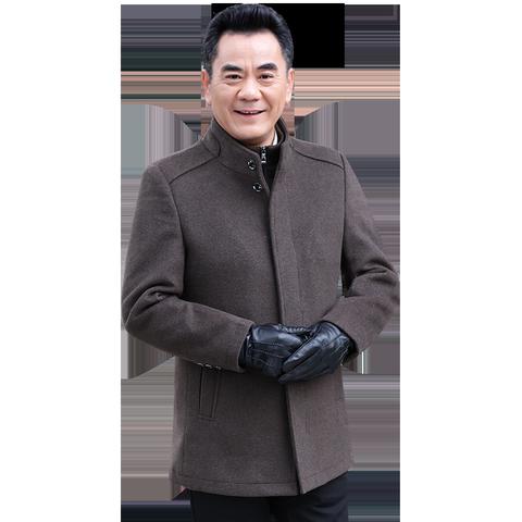爸爸冬装外套中年男士毛呢夹克中老年男装秋冬外套男中长款爸爸装