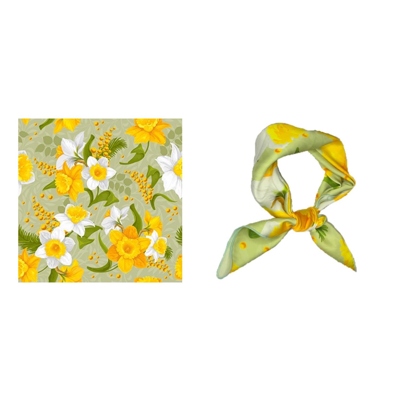 法式夏天里的小黄花Flora复古印花韩版方巾丝巾温柔装饰发带领巾