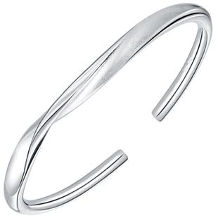 9999銀手環純銀手鐲莫比烏斯環男女情侶款開口牽繞鐲子足銀鐲子
