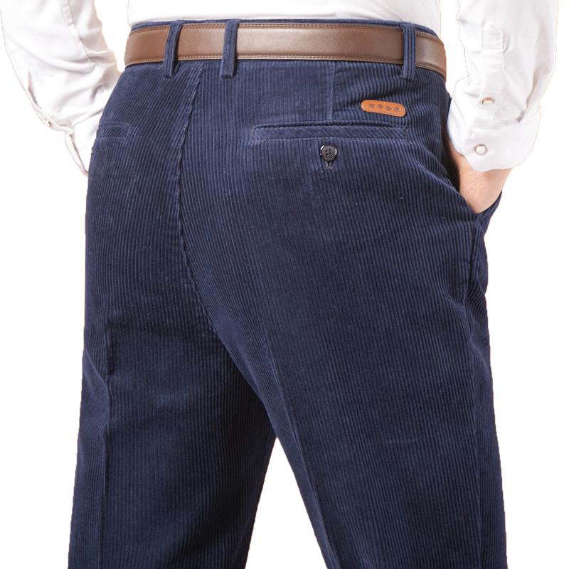 纯棉中老年男裤灯芯绒爸爸裤子粗条绒宽松50-60加厚休闲裤秋冬季