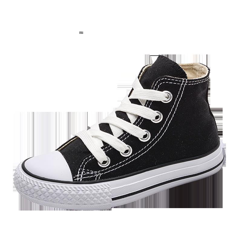 儿童帆布鞋高帮男童女童鞋子白色板鞋小白鞋2019新款班会宝宝布鞋