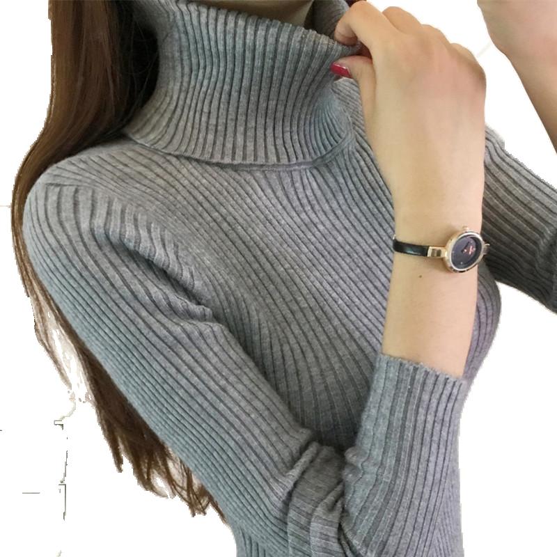 高领毛衣女秋冬打底衫2018新款韩版堆堆领修身长袖加厚套头针织衫