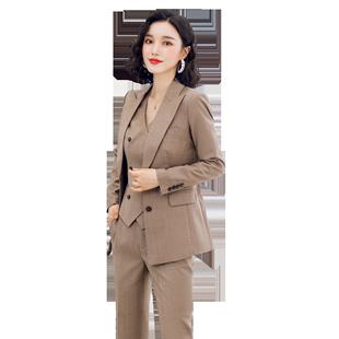 詩璐雅高端西裝套裝女職業氣質女神總裁西服馬甲三件套工作服秋冬