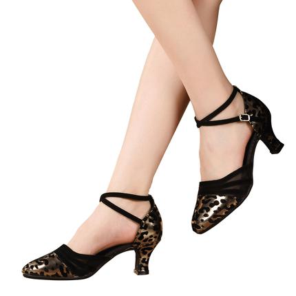 豹纹女式中跟广场舞中高跟拉丁舞鞋