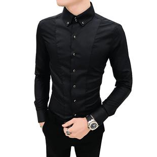 秋季網紅襯衫男長袖韓版帥氣襯衣修身休閒髮型師網紅上衣潮流衣服