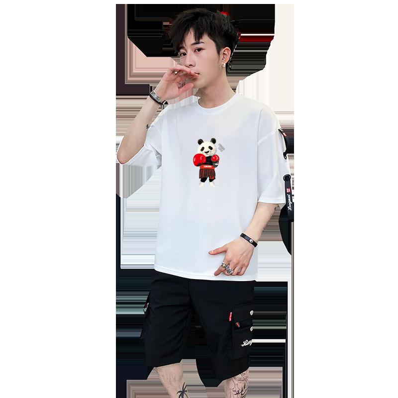 男士短袖T恤韩版潮流2019新款套装5分袖男七分裤夏季休闲衣服上衣