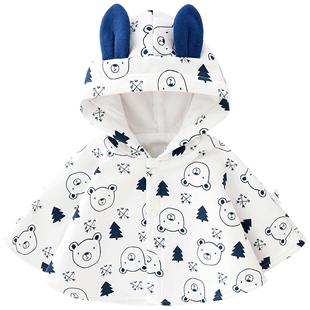 秋冬嬰兒斗篷披風1-3歲男女寶寶法蘭絨外出防風披肩加絨罩衫外套