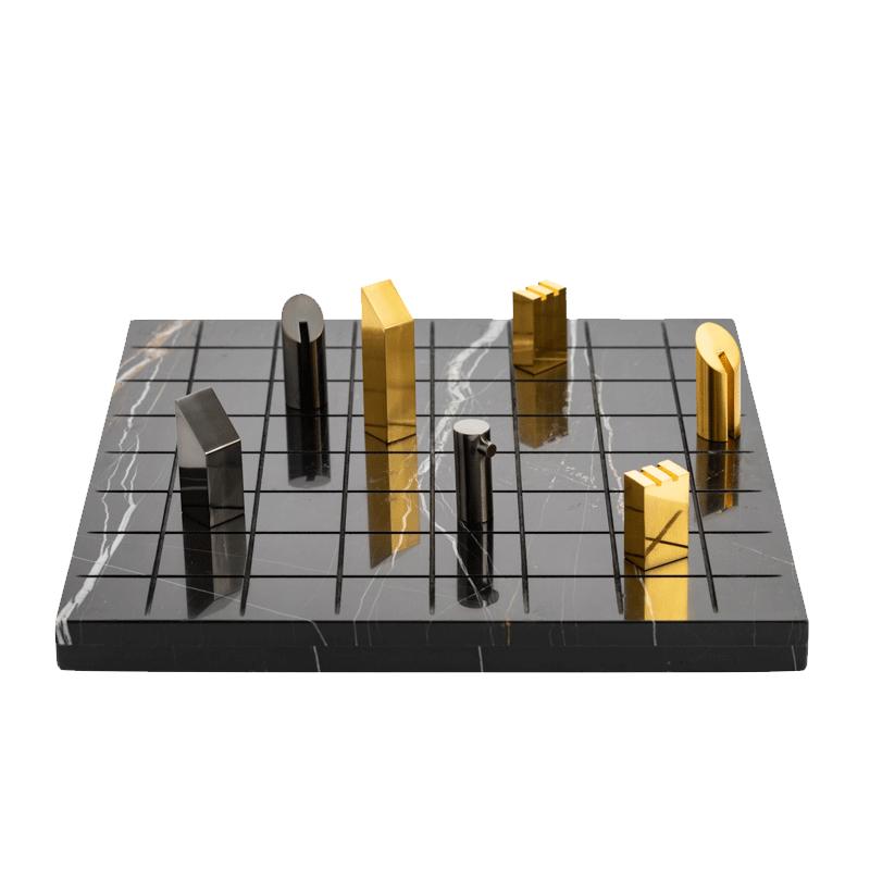 邸高现代软装设计家居样板间客厅卧室桌面大理石金属国际象棋摆件