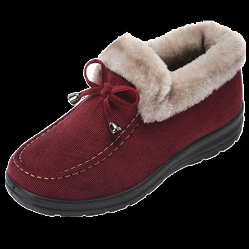 魅穗冬季北京布鞋棉鞋女雪地靴短靴平底加绒加厚妈妈保暖防滑棉靴