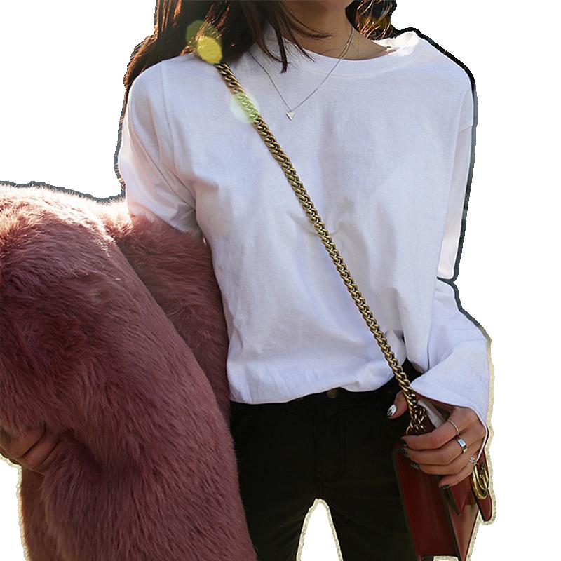 纯棉长袖t恤女春秋韩版百搭打底衫修身印花学生休闲宽松打底衫冬